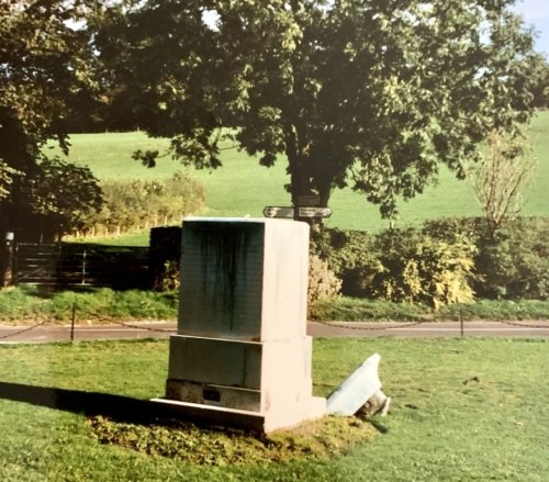 The plinth following the theft of the memorial statue in October 1996.  Image courtesy of Alan Parker