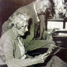 Alfred and Dora Wintle in their house at Coldharbour, Stansted