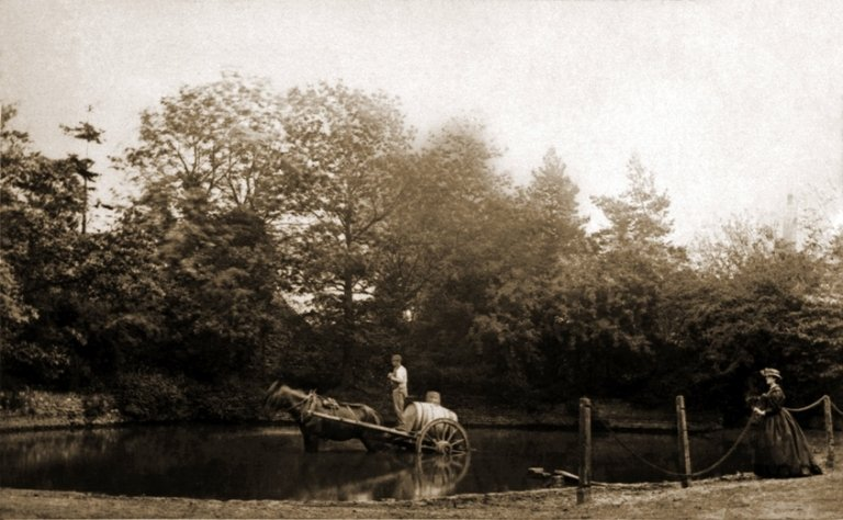 Filling water barrels from Fairseat pond in 1851