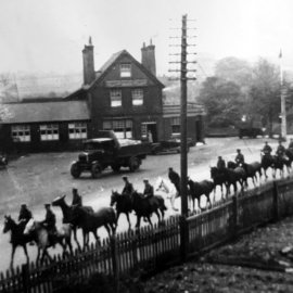 WW1 cavalry by the Horse and Groom, Old London Road, Stansted, Kent.