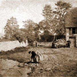 Filling a water jug near Fairseat Manor, Fairseat, Kent, in 1851