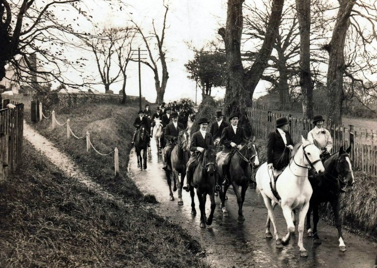 The Hunt led by Mrs Bolster in Plaxdale Green Road, Stansted, Kent, by St Marys Church
