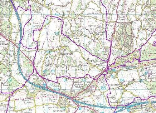 Map of the civil parish boundary for Stansted Kent